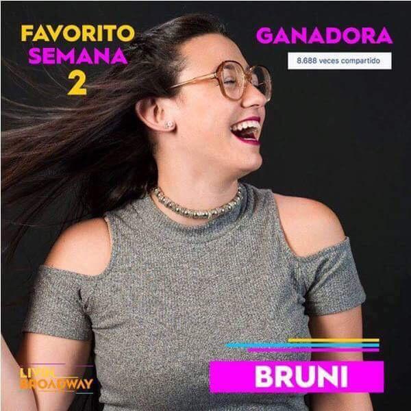 Por segunda semana consecutiva la artiguense Bruna de Oliveira Madeira fue la favorita del público de LIVIN'BROADWAY