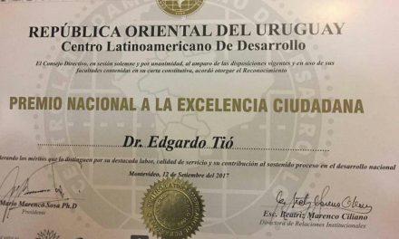 Edgardo Tio recibió el Premio Nacional a la Excelencia Ciudadana