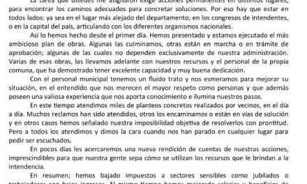 INTENDENTE CARAM EMITIÓ COMUNICADO AL CUMPLIRSE TRES AÑOS DE GOBIERNO