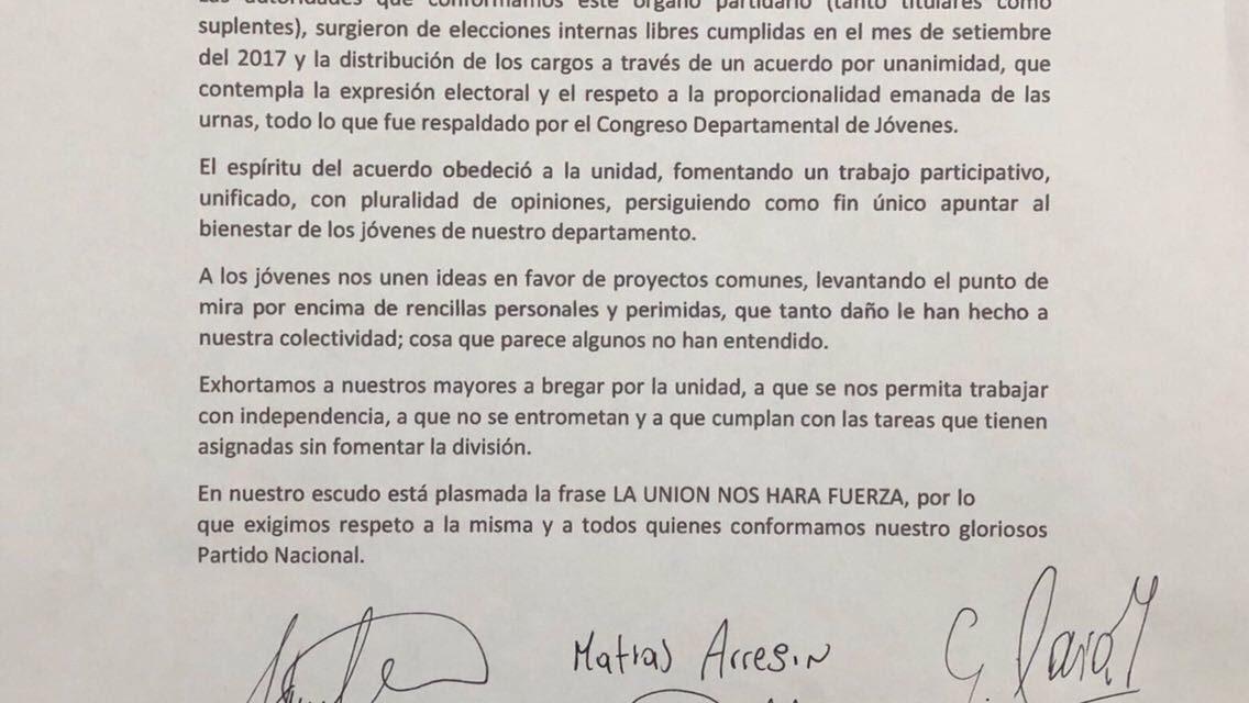 JÓVENES BLANCOS RECHAZAN ACTITUD DE   ALGUNOS DIRIGENTES ADULTOS