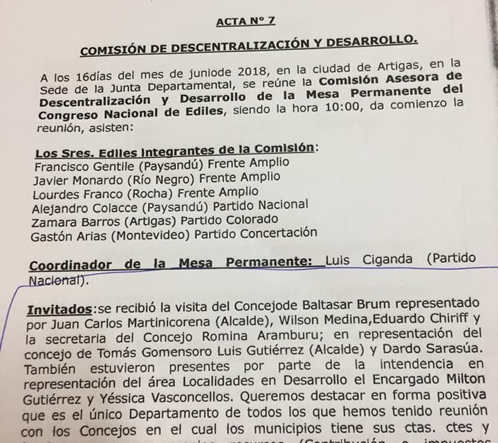 INTENDENCIA DE ARTIGAS ES LA ÚNICA QUE RESPETA LA AUTONOMÍA DE LOS MUNICIPIOS AFIRMÓ EL CONGRESO NACIONAL DE EDILES.