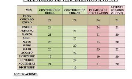 CALENDARIO DE VENCIMIENTOS AÑO 2019 INTENDENCIA