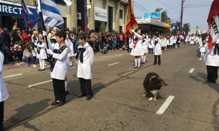 «ESPAÑA»: LA PERRITA QUE ACOMPAÑÓ DURANTE TODO EL DESFILE A LOS ALUMNOS DE LA ESCUELA ESPAÑA