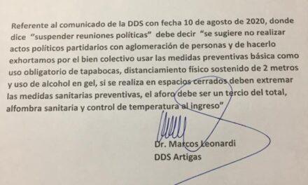 DIRECTOR DEPARTAMENTAL DE SALUD CAMBIÓ EL «PROHIBIR» POR «SUGERIR».