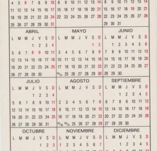 !EL CALENDARIO DE ESTE AÑO COINCIDE CON EL DE 1993!