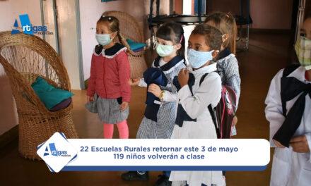 119 NIÑOS EN 22 ESCUELAS RURALES VUELVEN A CLASES ESTE LUNES EN ARTIGAS.